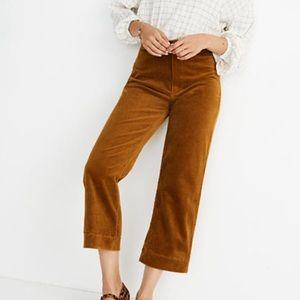 Madewell slim emmett wide leg crop pants corduroy